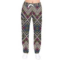 Zentangle Style Geometric Ornament Pattern Women Velvet Drawstring Pants