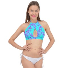 Branches Leaves Colors Summer Cross Front Halter Bikini Top