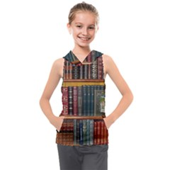 Books Library Bookshelf Bookshop Kids  Sleeveless Hoodie by Nexatart