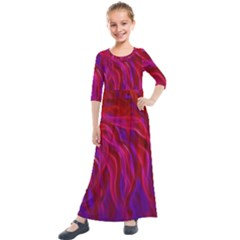 Background Texture Pattern Kids  Quarter Sleeve Maxi Dress