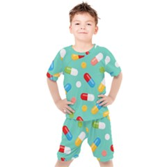 Pills Medicines Seamless Pattern Blue Background Kids  Tee And Shorts Set