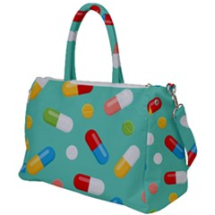 Pills Medicines Seamless Pattern Blue Background Duffel Travel Bag