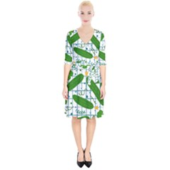 Seamless Pattern With Cucumber Wrap Up Cocktail Dress