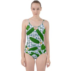 Seamless Pattern With Cucumber Cut Out Top Tankini Set