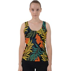 Fashionable Seamless Tropical Pattern With Bright Green Blue Plants Leaves Velvet Tank Top by Nexatart