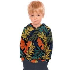 Fashionable Seamless Tropical Pattern With Bright Green Blue Plants Leaves Kids  Overhead Hoodie