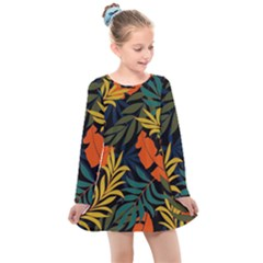 Fashionable Seamless Tropical Pattern With Bright Green Blue Plants Leaves Kids  Long Sleeve Dress by Nexatart
