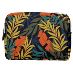 Fashionable Seamless Tropical Pattern With Bright Green Blue Plants Leaves Make Up Pouch (medium) by Nexatart