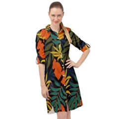 Fashionable Seamless Tropical Pattern With Bright Green Blue Plants Leaves Long Sleeve Mini Shirt Dress by Nexatart