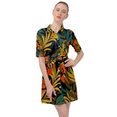Fashionable Seamless Tropical Pattern With Bright Green Blue Plants Leaves Belted Shirt Dress by Nexatart