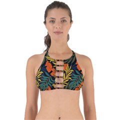 Fashionable Seamless Tropical Pattern With Bright Green Blue Plants Leaves Perfectly Cut Out Bikini Top by Nexatart