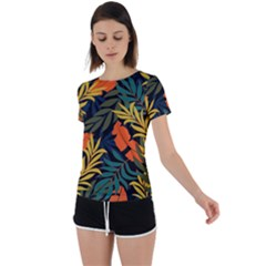 Fashionable Seamless Tropical Pattern With Bright Green Blue Plants Leaves Back Circle Cutout Sports Tee by Nexatart