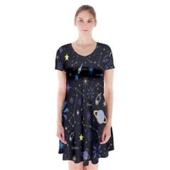 Starry Night  Space Constellations  Stars  Galaxy  Universe Graphic  Illustration Short Sleeve V-neck Flare Dress