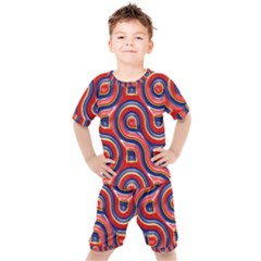 Pattern Curve Design Kids  Tee And Shorts Set