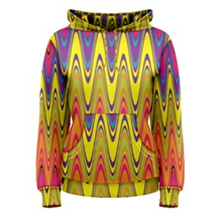 Retro Colorful Waves Background Women s Pullover Hoodie