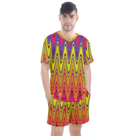 Retro Colorful Waves Background Men s Mesh Tee And Shorts Set by Nexatart