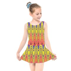 Retro Colorful Waves Background Kids  Skater Dress Swimsuit by Nexatart