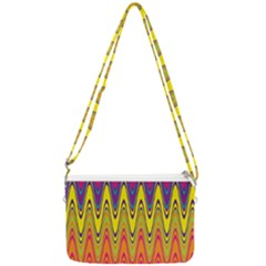 Retro Colorful Waves Background Double Gusset Crossbody Bag