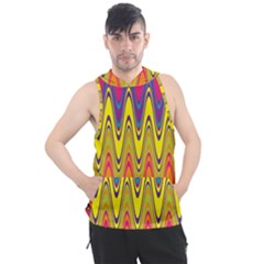 Retro Colorful Waves Background Men s Sleeveless Hoodie