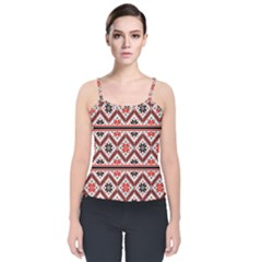 Folklore Ethnic Pattern Background Velvet Spaghetti Strap Top