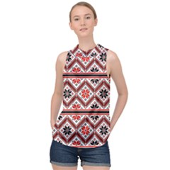 Folklore Ethnic Pattern Background High Neck Satin Top