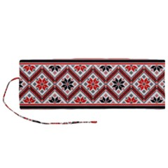 Folklore Ethnic Pattern Background Roll Up Canvas Pencil Holder (m)