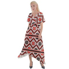 Folklore Ethnic Pattern Background Cross Front Sharkbite Hem Maxi Dress
