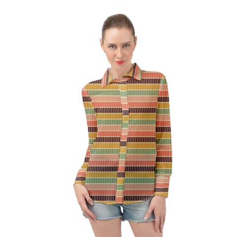 Vintage Stripes Lines Background Long Sleeve Chiffon Shirt by Nexatart