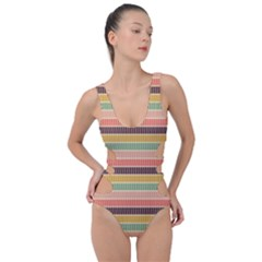 Vintage Stripes Lines Background Side Cut Out Swimsuit