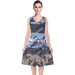 El Chalten Landcape Andes Patagonian Mountains, Agentina V-neck Midi Sleeveless Dress  by dflcprintsclothing