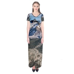 El Chalten Landcape Andes Patagonian Mountains, Agentina Short Sleeve Maxi Dress by dflcprintsclothing