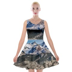 El Chalten Landcape Andes Patagonian Mountains, Agentina Velvet Skater Dress by dflcprintsclothing