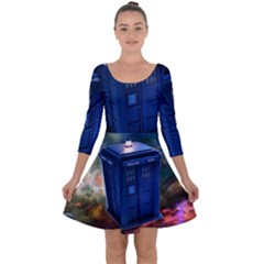 The Police Box Tardis Time Travel Device Used Doctor Who Quarter Sleeve Skater Dress
