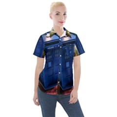 The Police Box Tardis Time Travel Device Used Doctor Who Women s Short Sleeve Pocket Shirt