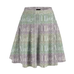 I Love Vintage Phrase Motif Striped Pattern Design High Waist Skirt by dflcprintsclothing