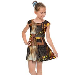 Steampunk Clockwork And Steampunk Girl Kids  Cap Sleeve Dress by FantasyWorld7
