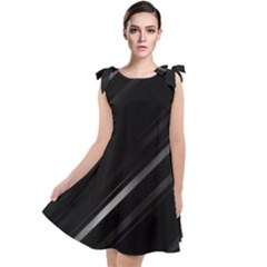 Minimalist Black Linear Abstract Print Tie Up Tunic Dress by dflcprintsclothing
