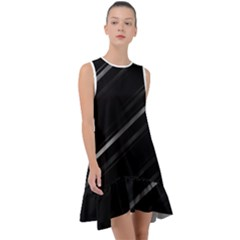 Minimalist Black Linear Abstract Print Frill Swing Dress by dflcprintsclothing