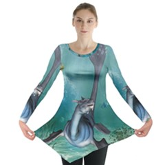 Awesome Seadragon Long Sleeve Tunic  by FantasyWorld7