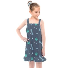 Bons Foot Prints Pattern Background Kids  Overall Dress