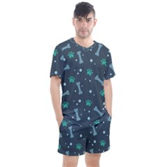 Bons Foot Prints Pattern Background Men s Mesh Tee And Shorts Set