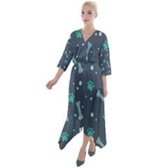 Bons Foot Prints Pattern Background Quarter Sleeve Wrap Front Maxi Dress by Vaneshart