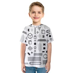 Pattern Hipster Abstract Form Geometric Line Variety Shapes Polkadots Fashion Style Seamless Kids  Sport Mesh Tee