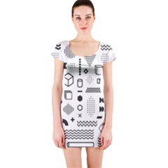 Pattern Hipster Abstract Form Geometric Line Variety Shapes Polkadots Fashion Style Seamless Short Sleeve Bodycon Dress