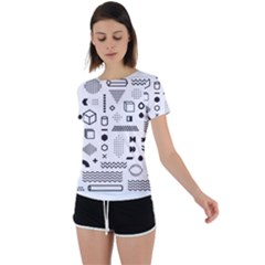 Pattern Hipster Abstract Form Geometric Line Variety Shapes Polkadots Fashion Style Seamless Back Circle Cutout Sports Tee
