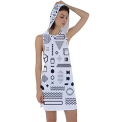 Pattern Hipster Abstract Form Geometric Line Variety Shapes Polkadots Fashion Style Seamless Racer Back Hoodie Dress