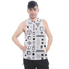 Pattern Hipster Abstract Form Geometric Line Variety Shapes Polkadots Fashion Style Seamless Men s Sleeveless Hoodie