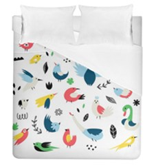 Vector Set Isolates With Cute Birds Scandinavian Style Duvet Cover (queen Size)