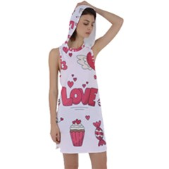 Hand Drawn Valentines Day Element Collection Racer Back Hoodie Dress