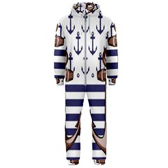 Anchor Background Design Hooded Jumpsuit (men)